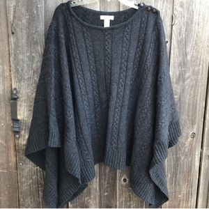 KENAR Poncho Wool Blend Cable Knit Charcoal Grey